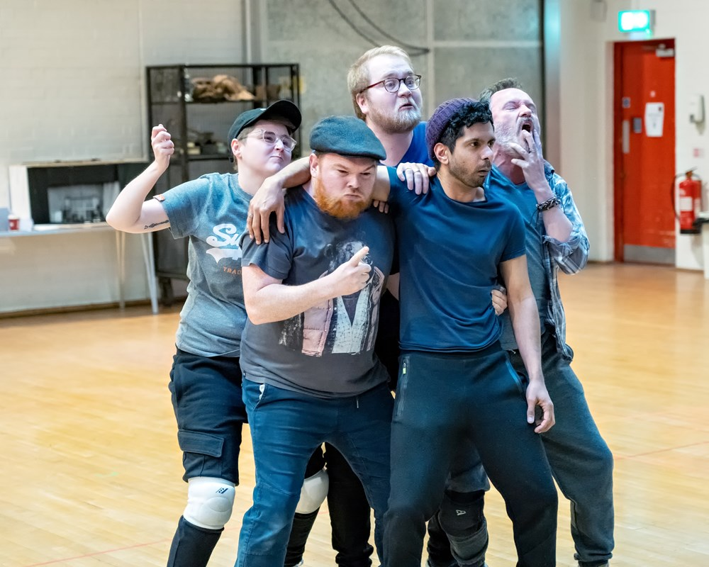 Benjamin Wilson, Brooklyn Melvin, Stephen Collins, Mitesh Soni, and Jack Lord in Oliver Twist rehearsals