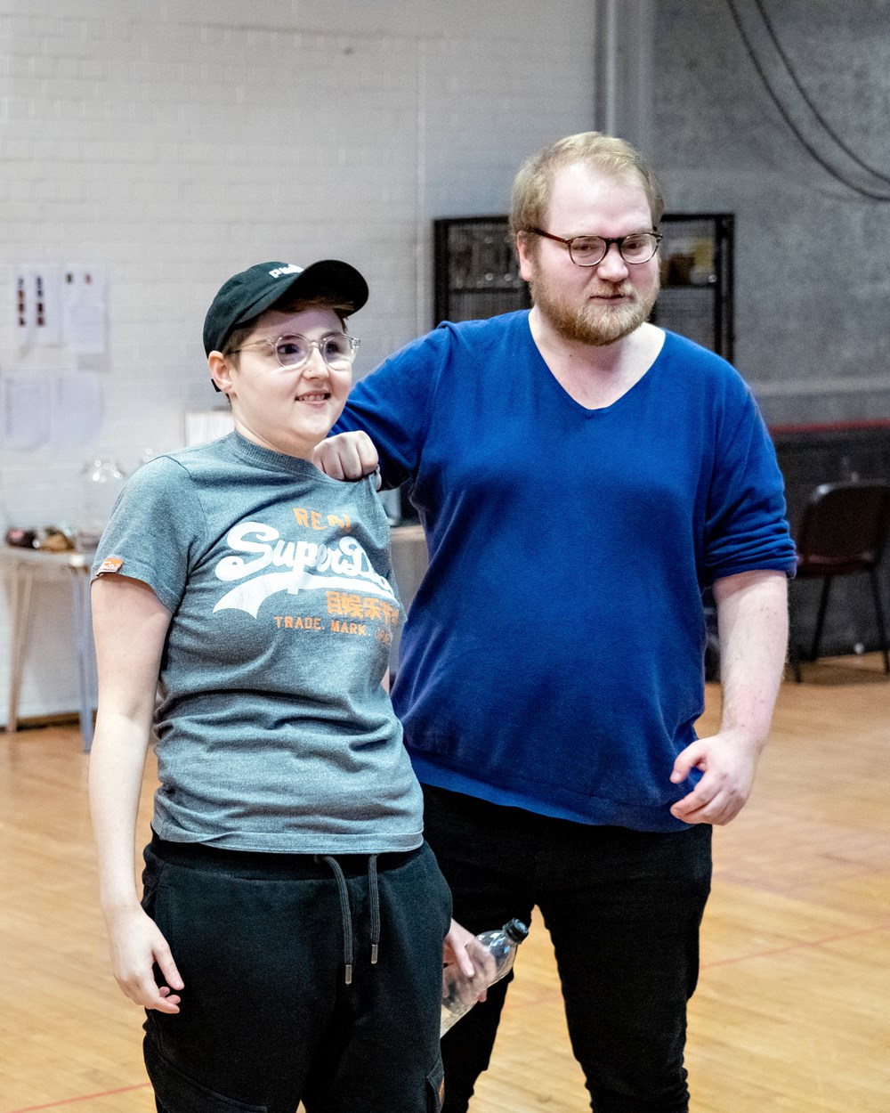 Brooklyn Melvin and Benjamin Wilson in Oliver Twist rehearsals