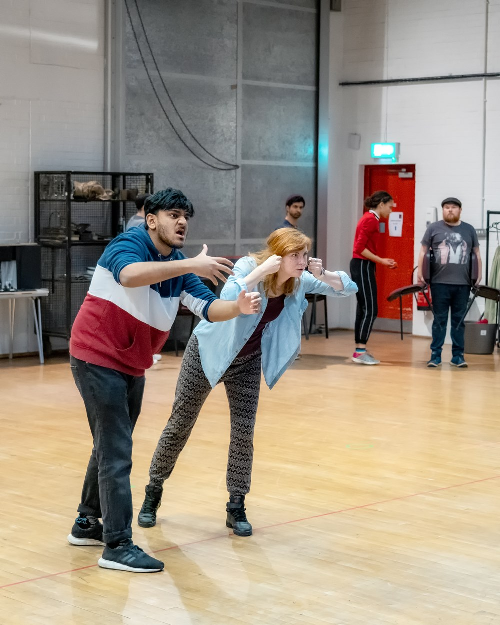 Nadeem Islam, Clare-Louise English, Mitesh Soni, Stephen Collins and Georgia Jackson in Oliver Twist Rehearsals