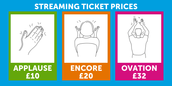 Streaming Ticket Options, Applause £10, Encore £20, Ovation £32